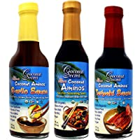 Coconut Secret Coconut Aminos Teriyaki Sauce, Garlic Sauce, and Aminos (Bundle) (1-Pack of 3)