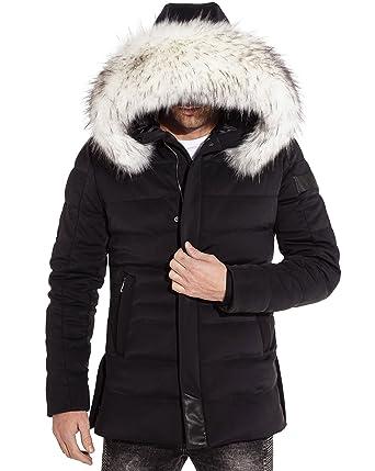 3b0b09532b34 BLZ Jeans - Manteau Parka Hiver stylé à Capuche Fausse Fourrure Blanche -  Couleur  Noir