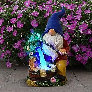 Voveexy Garden Gnome Statue, Solar Powered Garden Figurine Outdoor Decoration with Blue Light Resin Garden Sculpture for Patio Lawn Yard Art Ornament Christmas Housewarming Gift, 6.3x5.5x10.6Inch
