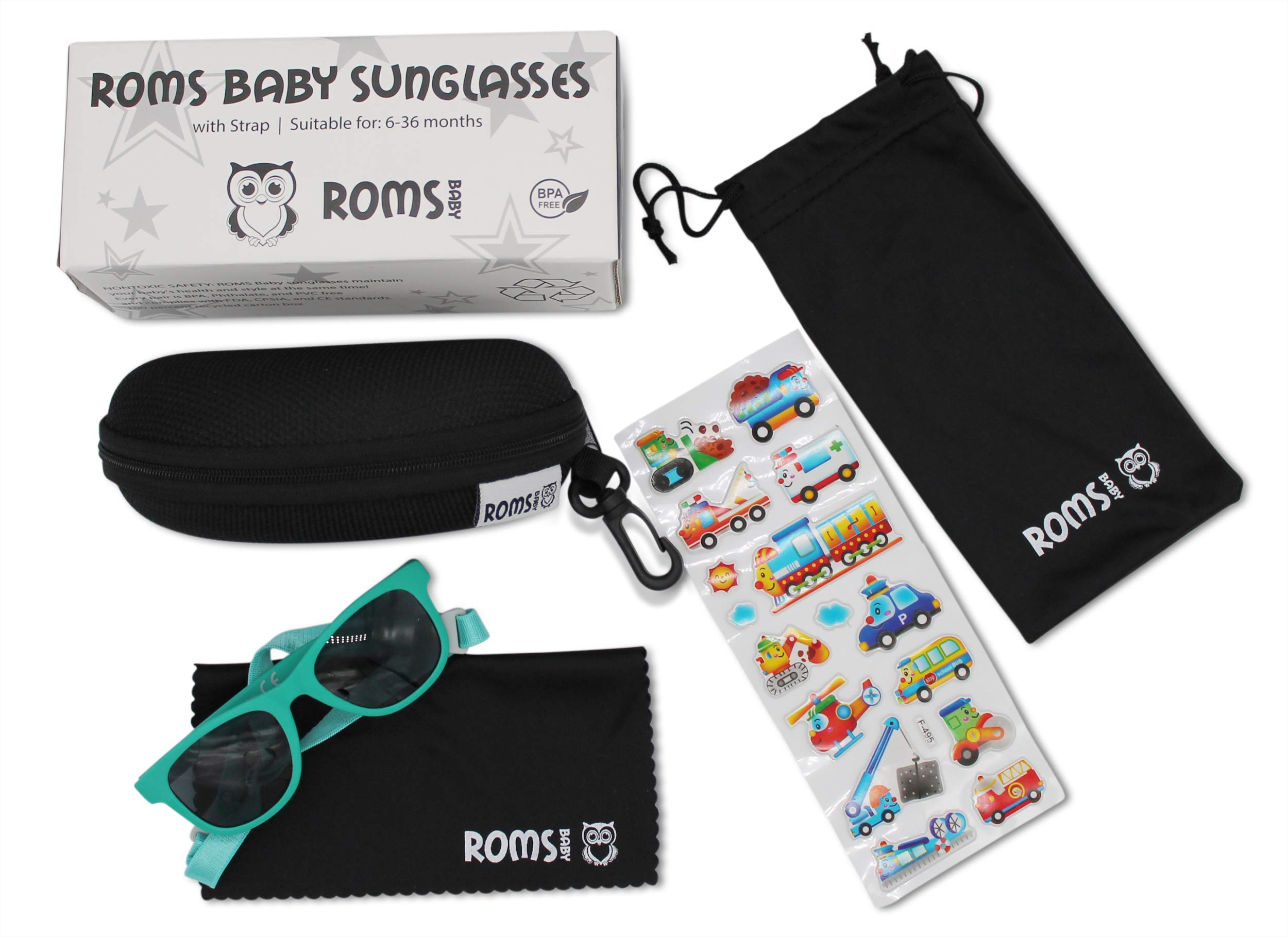 Baby Sunglasses with Strap - 400 UV Protection Polarized Lenses - Unisex Toddler/Kid. Shatterproof W/Soft Pouch and Hard Case - Ages 6 mos. to 3 years - Turquoise - FDA Approved