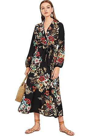 e326e3023558 Milumia Women s Bishop Sleeve Surplice Wrap Self Tie Floral Print Maxi Dress  Multicolor-10 S