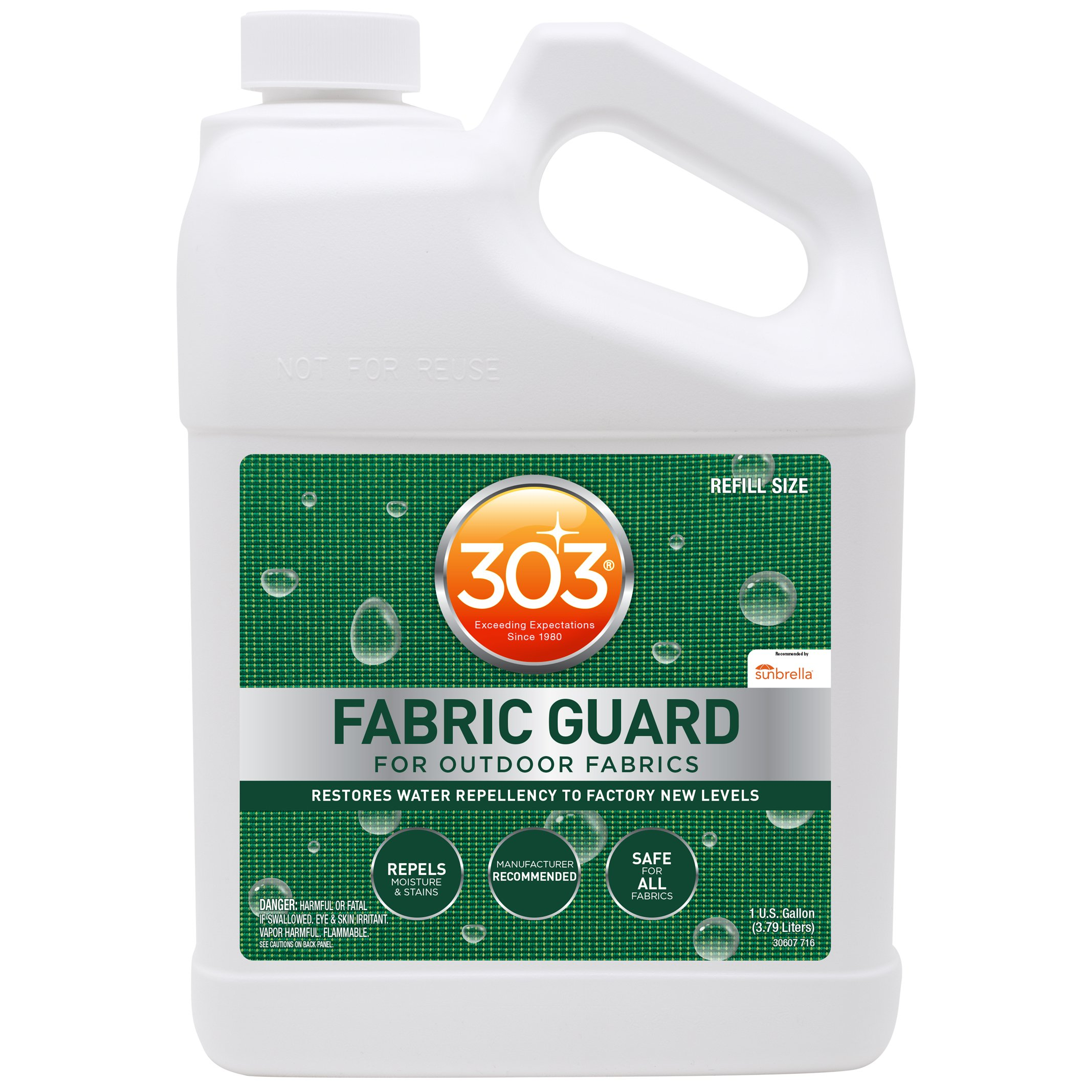 303 Fabric Guard - For Outdoor Fabrics - Restores Water Repellency To Factory New Levels - Repels Moisture And Stains - Manufacturer Recommended - Safe For All Fabrics, 128 fl. oz. (30607)