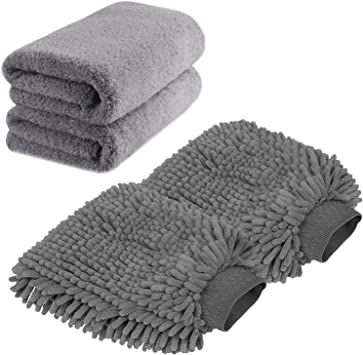 Microfiber Wash Glove and Microfiber Towels - Lint Free(2 Towels + 2 Mitts)
