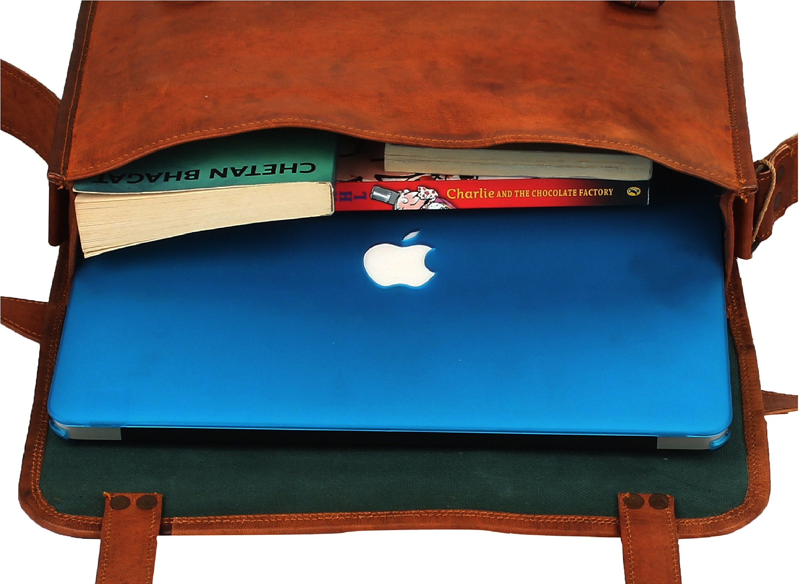 Rustic Town 15'' Genuine Leather Handmade Crossbody Messenger Satchel Laptop Bag by RusticTown (Image #7)