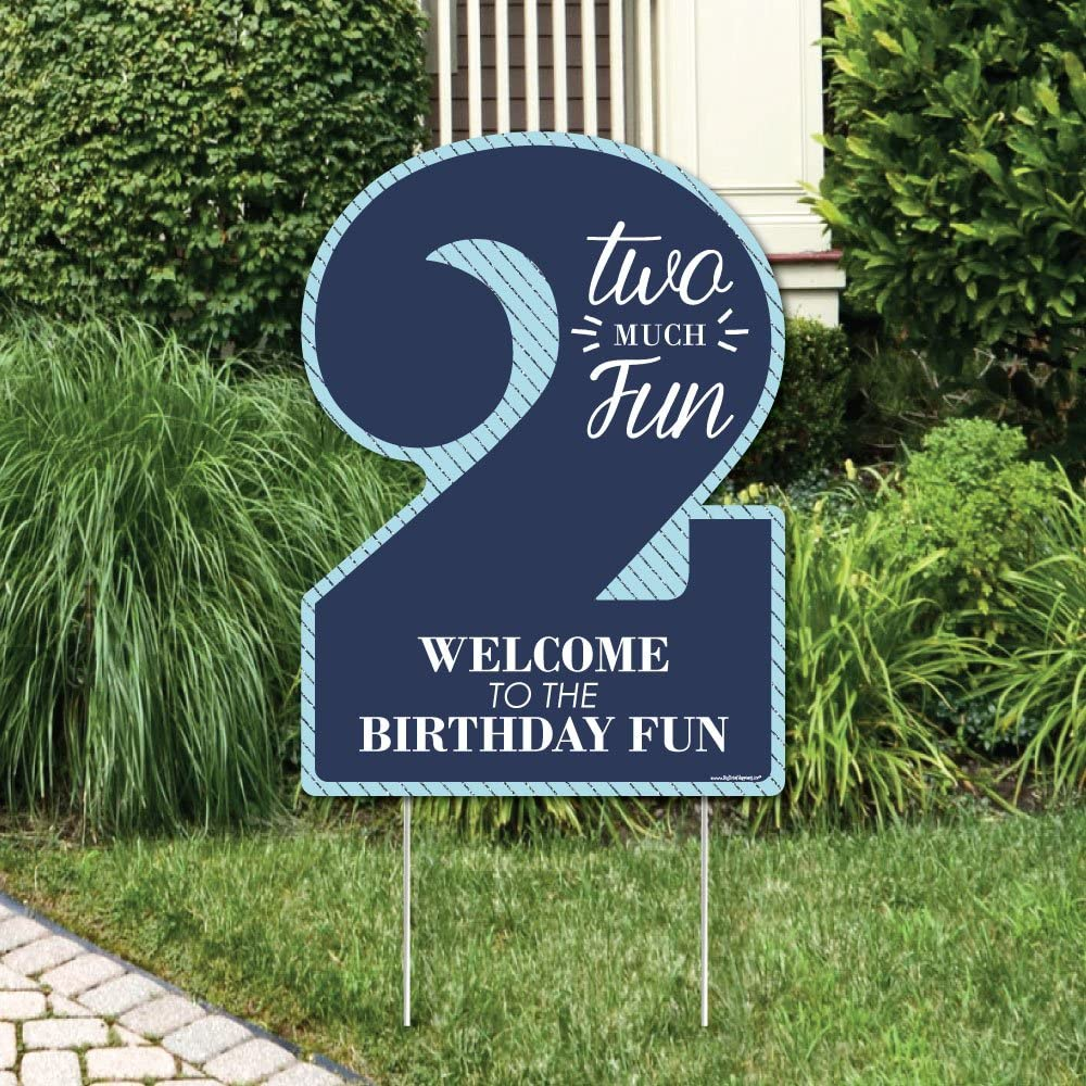 Amazon Com Big Dot Of Happiness 2nd Birthday Boy Two Much Fun Party Decorations Birthday Party Welcome Yard Sign Garden Outdoor