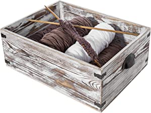 MyGift Shabby Whitewashed Wood Storage Crate with Vintage Metal Handles & Side Accent Wraps