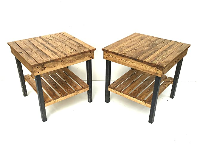 Large Night Stand/Modern Farmhouse End Tables/Rustic Table Set /Side Table/