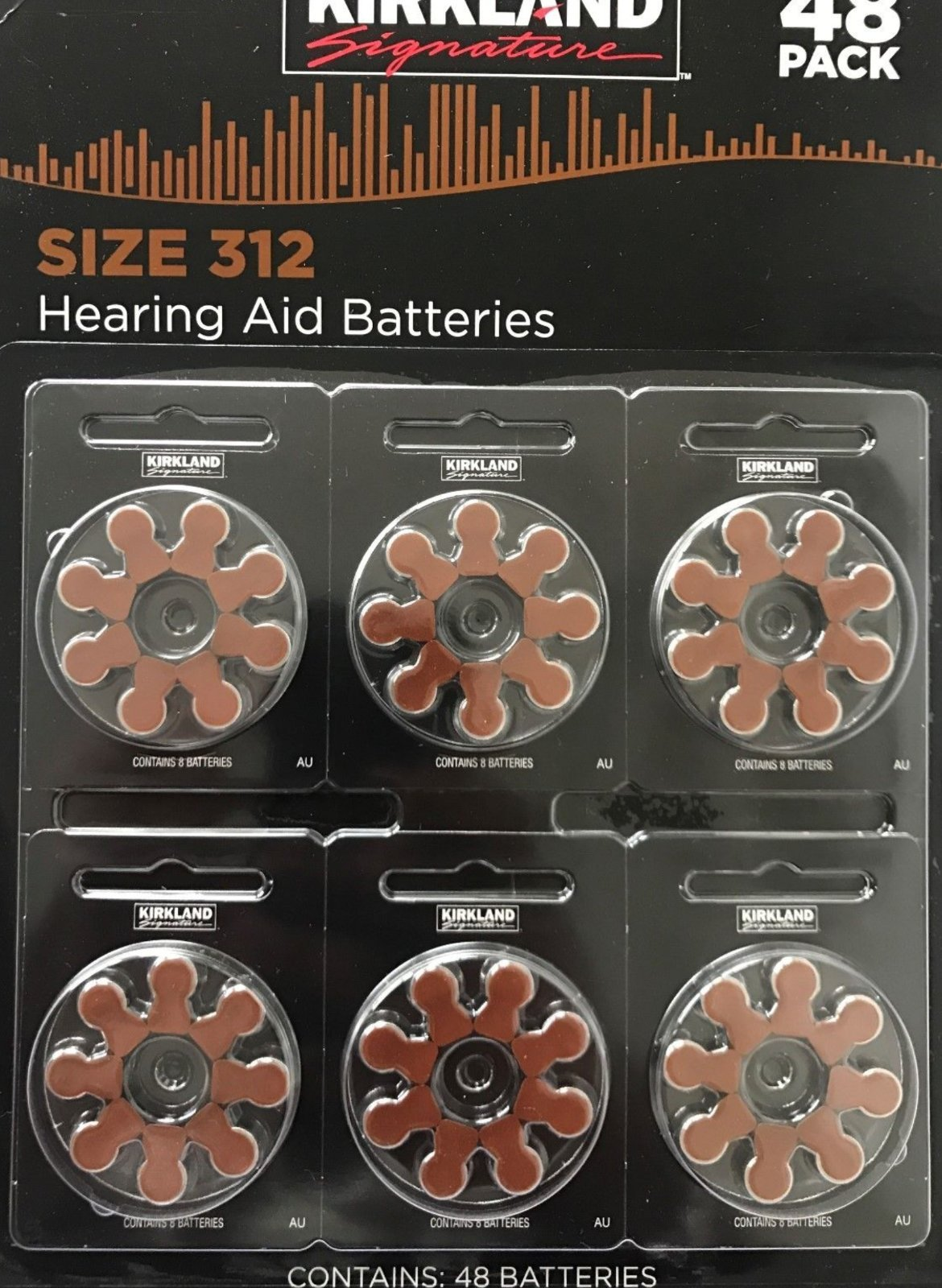 Kirkland Signature 1.45 Volt Mercury Free Premium Quality Hearing Aid Batteries, 312 (48-Pack)