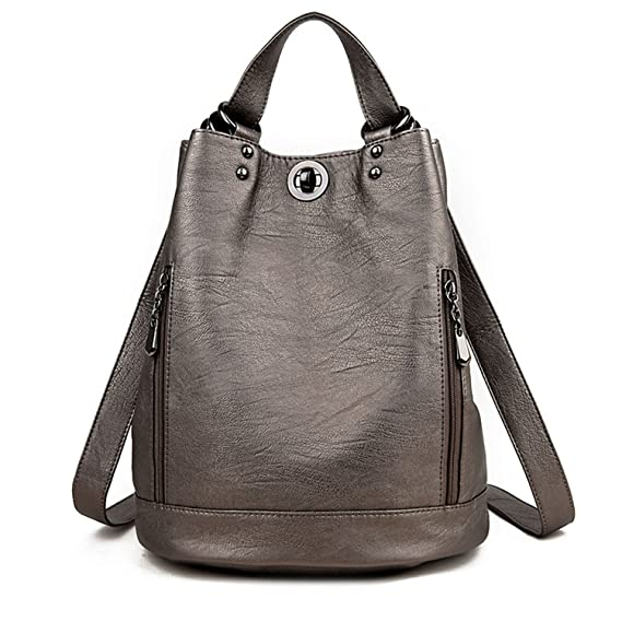 Amazon.com | Women Backpack Female Pu Leather Women Bucket Backpacks Bag Travel Bags Back Pack Multi-Purpose Shoulder Bags Black | Casual Daypacks