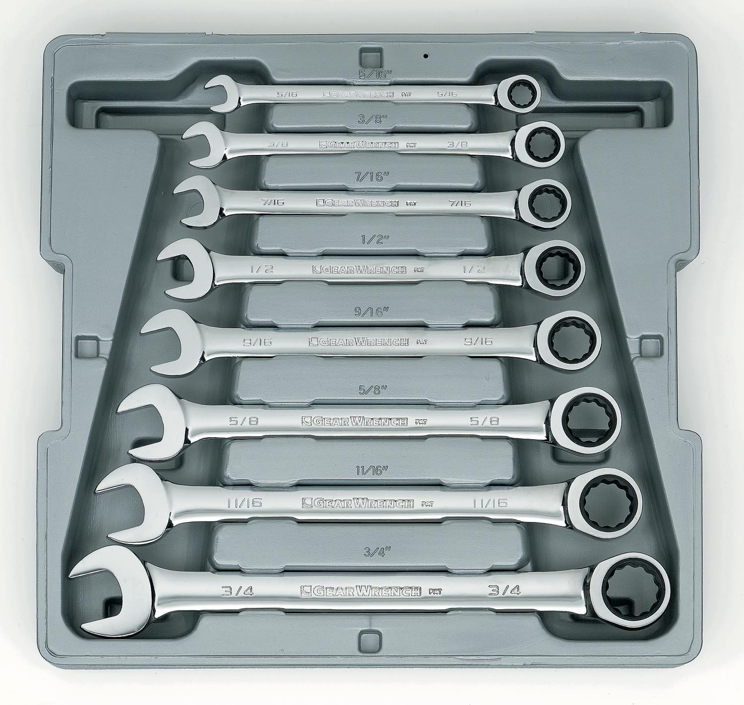 GEARWRENCH 9308D 12 Point Ratcheting Combination SAE Wrench Set, 8 Pc.