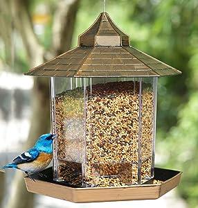 Fancico Bird Feeder for Outside Hanging, Bird Seeds for Wild Birds, Panorama Gazebo Bird Feeders, Waterproof Bird Food Container for Garden Yard Outdoor Decoration, Brown
