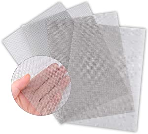 "4PACK Stainless Steel Woven Wire Mesh Never Rust, Air Vent Mesh 11.8""X8.2""(300X 210mm), Hard and Heat Resisting Screen Mesh, 1mm Hole 20 Mesh Easy to Cut by Valchoose"