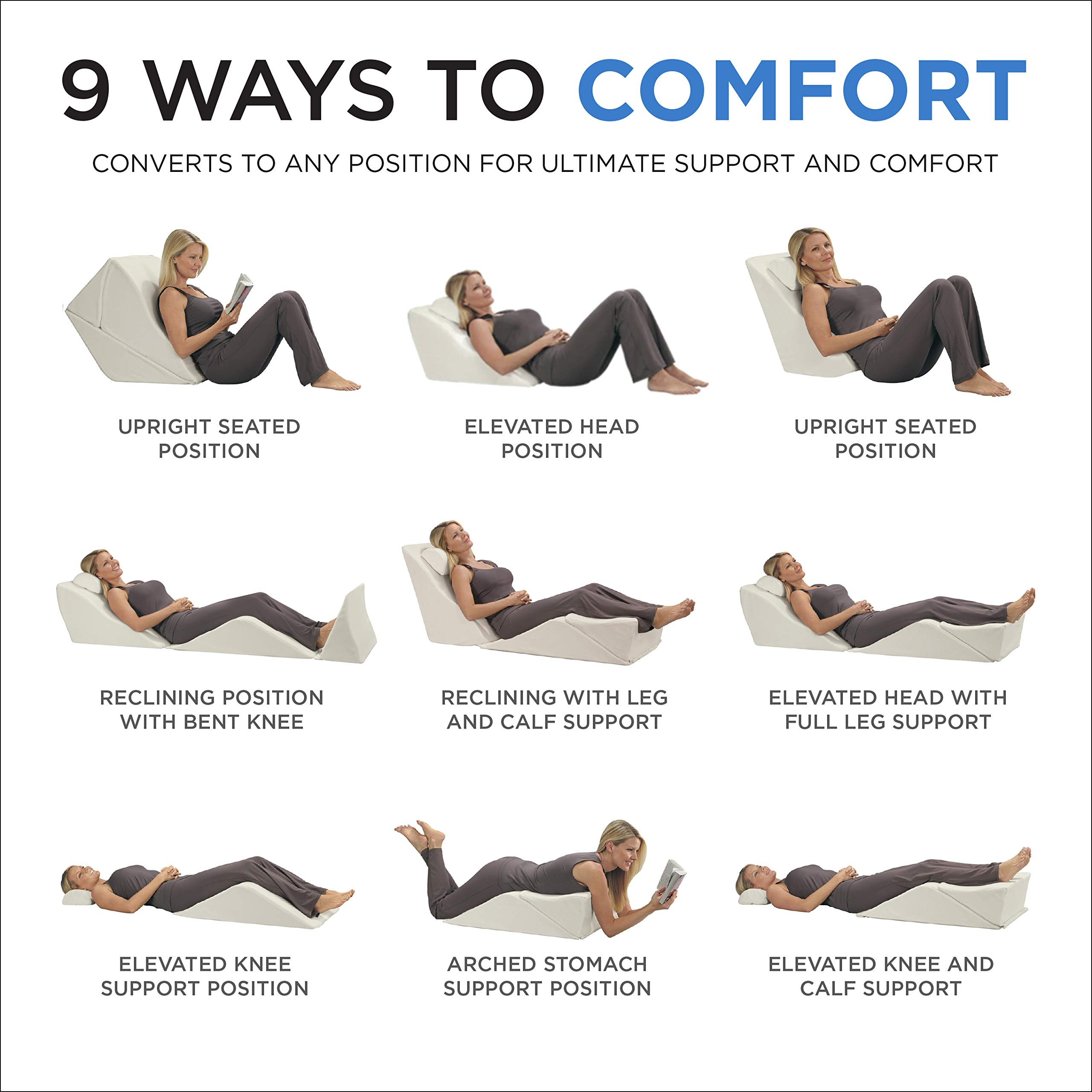 Contour Products BackMax Full Body Foam Bed Wedge Pillow System, Plus 2.0 by Contour (Image #4)