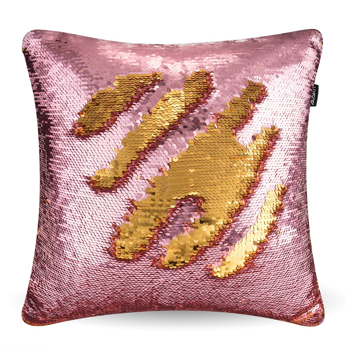 Reversible Sequins Mermaid Pillow Case - Two Colors Throw Cushion Case 4040cm(ONLY PILLOW COVER) Hermosa Pink and Shining Gold By AusKit