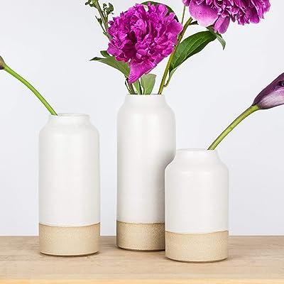 Modern White Ceramic Bottle Vases by Barombi Studios (Set of 3)