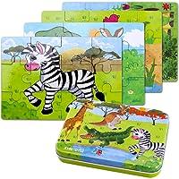 BBLIKE Jouet Puzzle Enfant en Bois, 4 Degrés Variables D'outil d'apprentissage, Jouet Éducatif Parfait Cadeau Anniversaire pour Garçons Filles de 3 Ans Et Plus (Animaux)