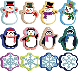 60 PCS Christmas Cut-Outs Colorful Winter Mix Cut-Out Penguin Snowflakes Snowman Cutouts with 120 PCS Adhesive Dots for Bulletin Board Classroom School Playroom Birthday Theme Party Holiday Decor