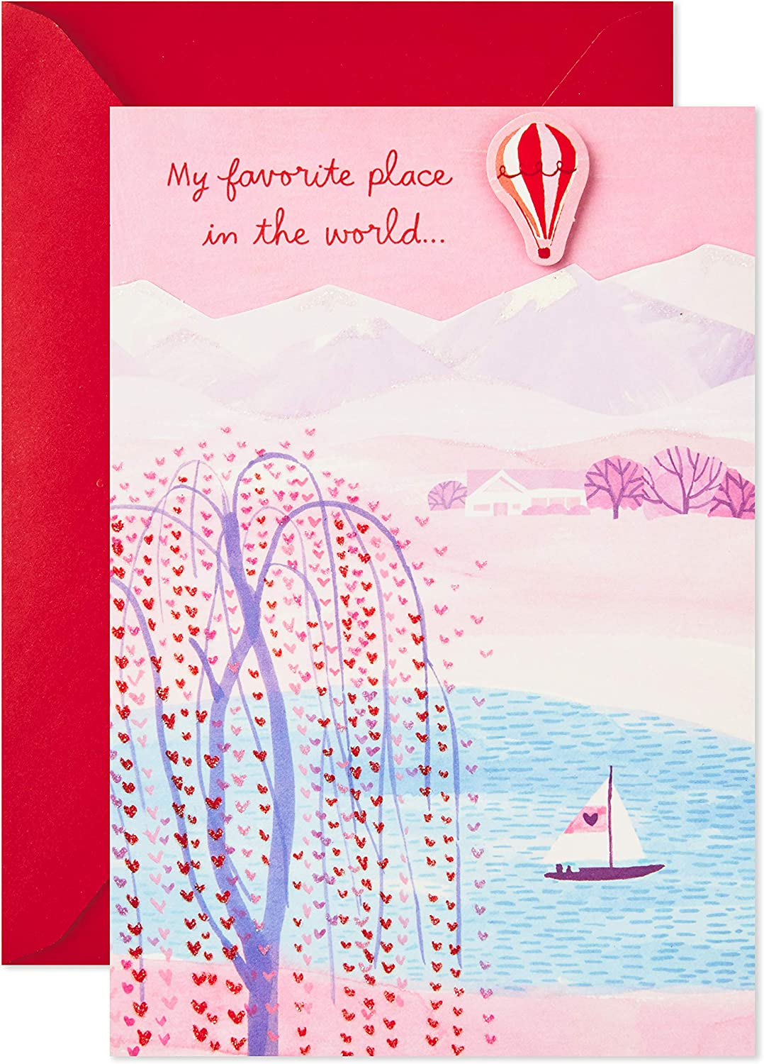 Romantic Papyrus Greetings Valentine Card Sunset Over Lake in Boat For Husband