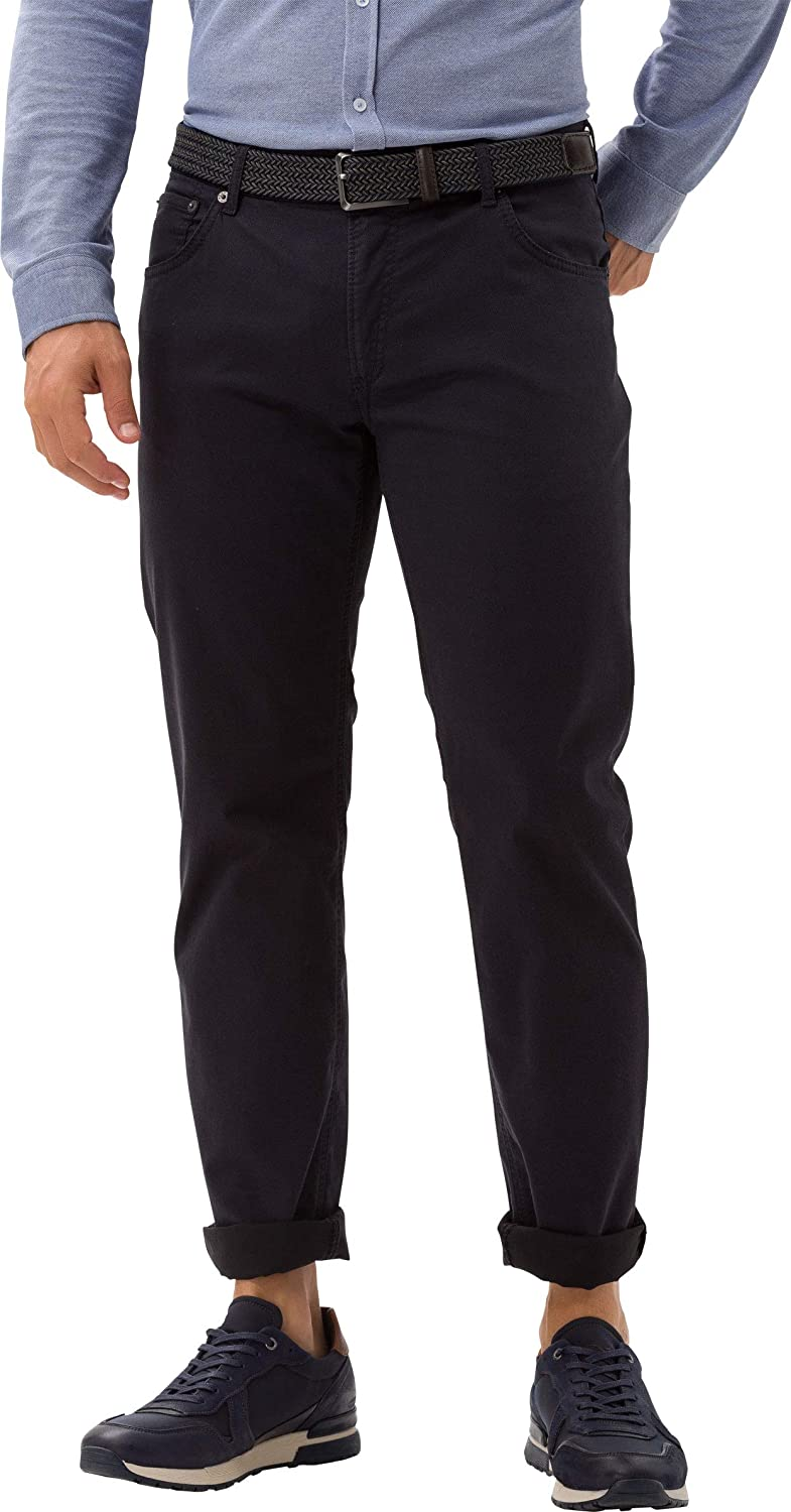 BRAX Men's Chuck Hi-Flex Structure Five Pocket Casual Modern Fit Trousers Blau (Navy 23)