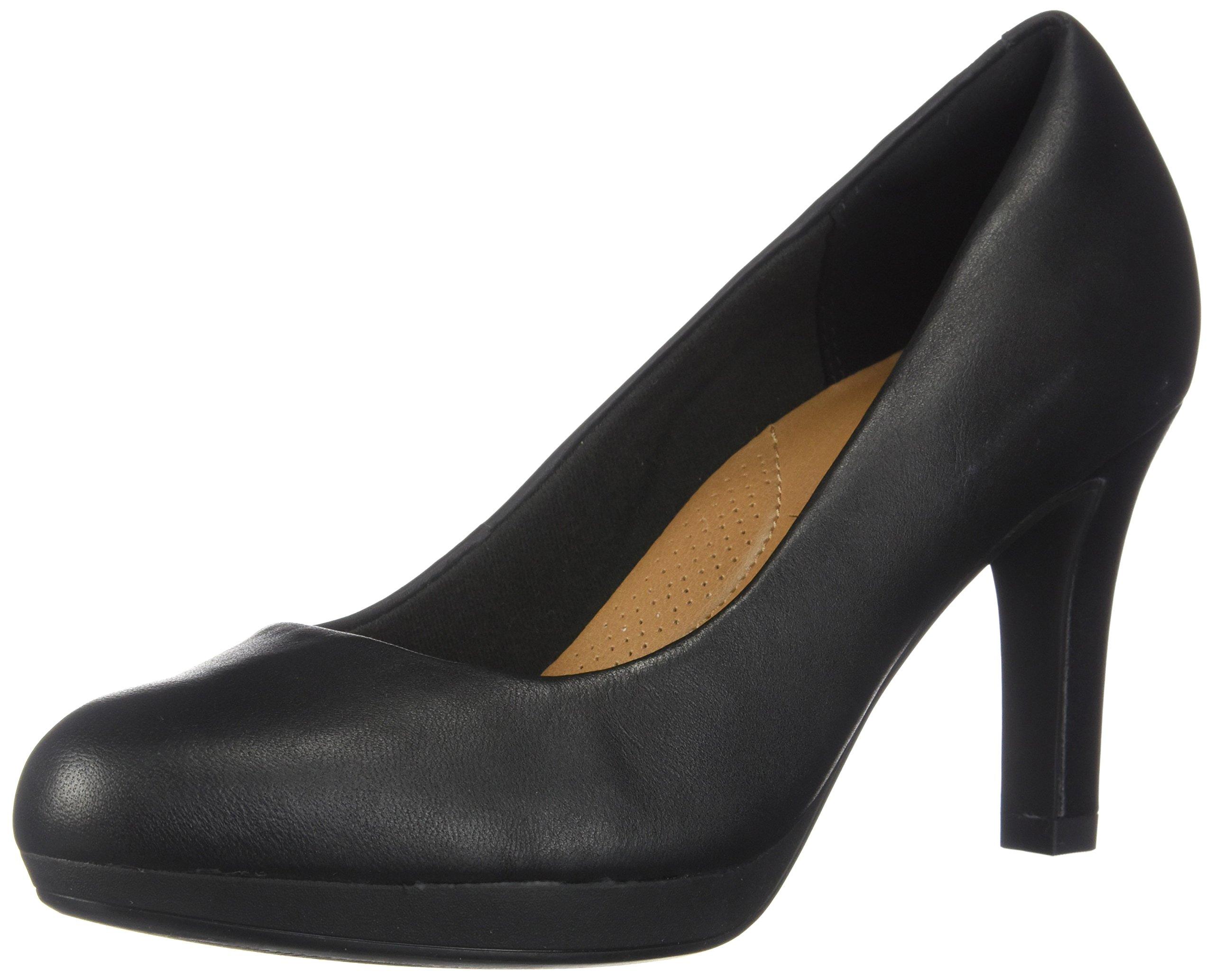 CLARKS Women's Adriel Viola Dress Pump, Black Leather, 9 M US