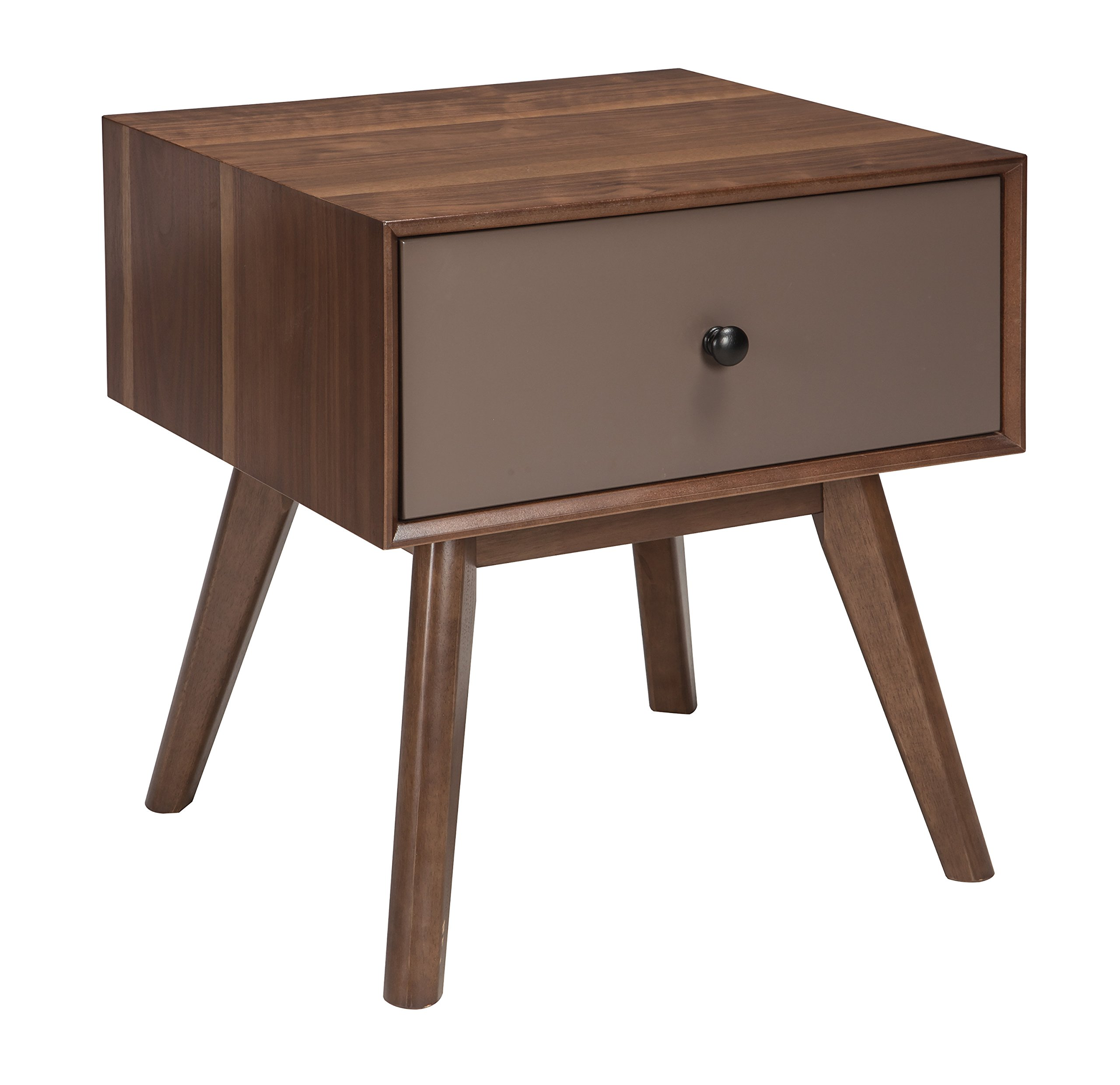 Signature Design by Ashley- Lynnifer Contemporary Rectangular End Table w/ Storage, Wood Two-Tone - MID CENTURY MODERN END TABLE: Oh-so trendy, but forever a classic, this accent table makes a striking statement wherever you set it. Cool canted legs add visual interest to the whole look HANDSOMELY CRAFTED: Made of veneers, wood and engineered wood. Accented with dark bronze-tone hardware. Designed with a smooth-gliding storage drawer TWO-TONE FINISH: Warm walnut-tone veneers pair beautifully with the matte taupe-tone drawer fronts, for a showstopper finish you simply can't beat - living-room-furniture, living-room, end-tables - 81EV2hAx9%2BL -
