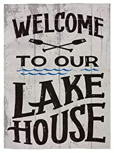 "pingpi Welcome to Our Lake House Double Sided Burlap Garden Flag 12.5""x18"""