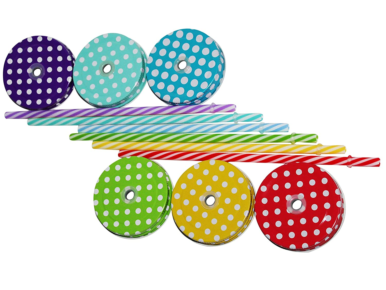6-Pack Decorative Colored Polka-Dot Metal Lid With Straw Holes /& Striped Plastic Straw Set Amazing Set Of 6 Lids /& 6 Straws For Regular Mouth Mason Jar Glasses Mixed