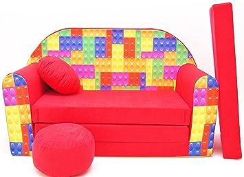 F15 Minicouch Kindersofa Set Sitzkissen Matratze Spielsofa F15 Dinosaurier