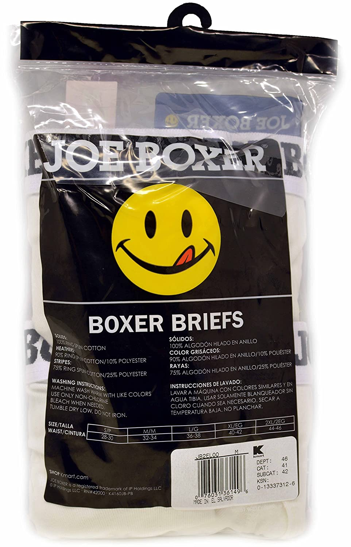 2 Joe Boxer Ring Spun Cotton Boxer Briefs/white (L) at Amazon Mens Clothing store: