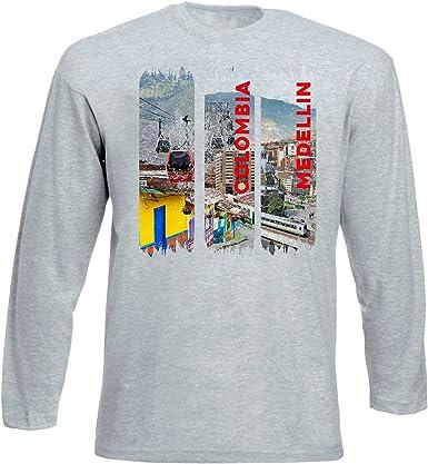 teesquare1st Medellin Colombia Tshirt de Manga Larga Gris para Hombre: Amazon.es: Ropa y accesorios