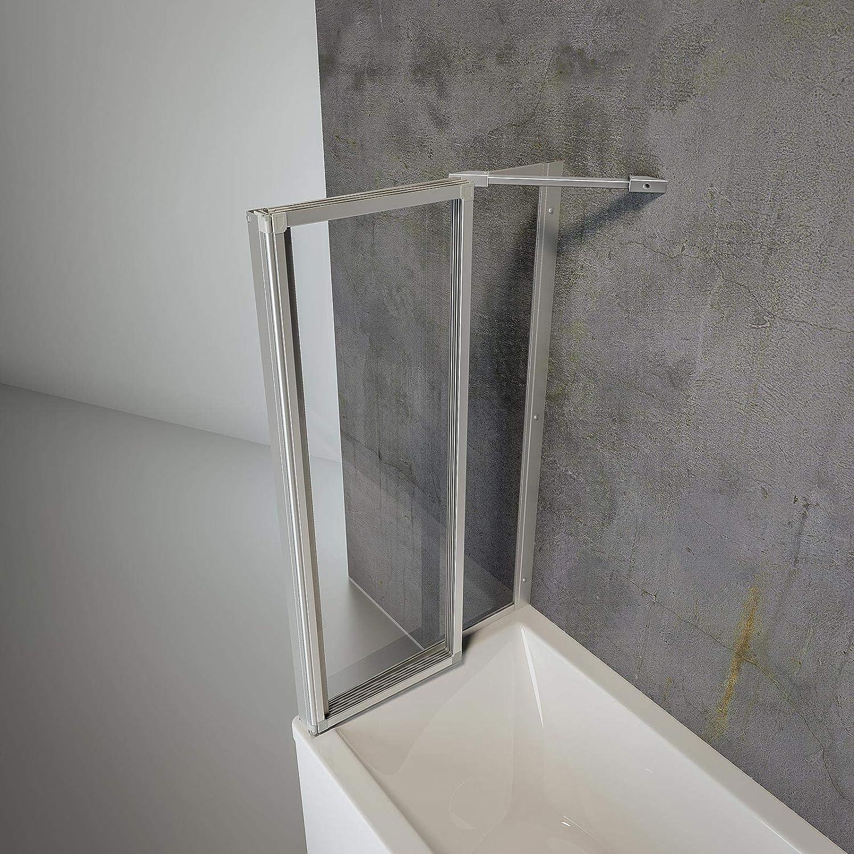 115x120 cm paroi de baignoire r/éversible 5 volets pivotants Schulte pare baignoire rabattable /à coller verre d/écor rayures profil/é alu nature sans percer