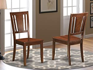 East West Furniture DUC-MAH-W Dudley dining chair set - Wooden Seat and Mahogany Hardwood Structure dining chair Set of 2