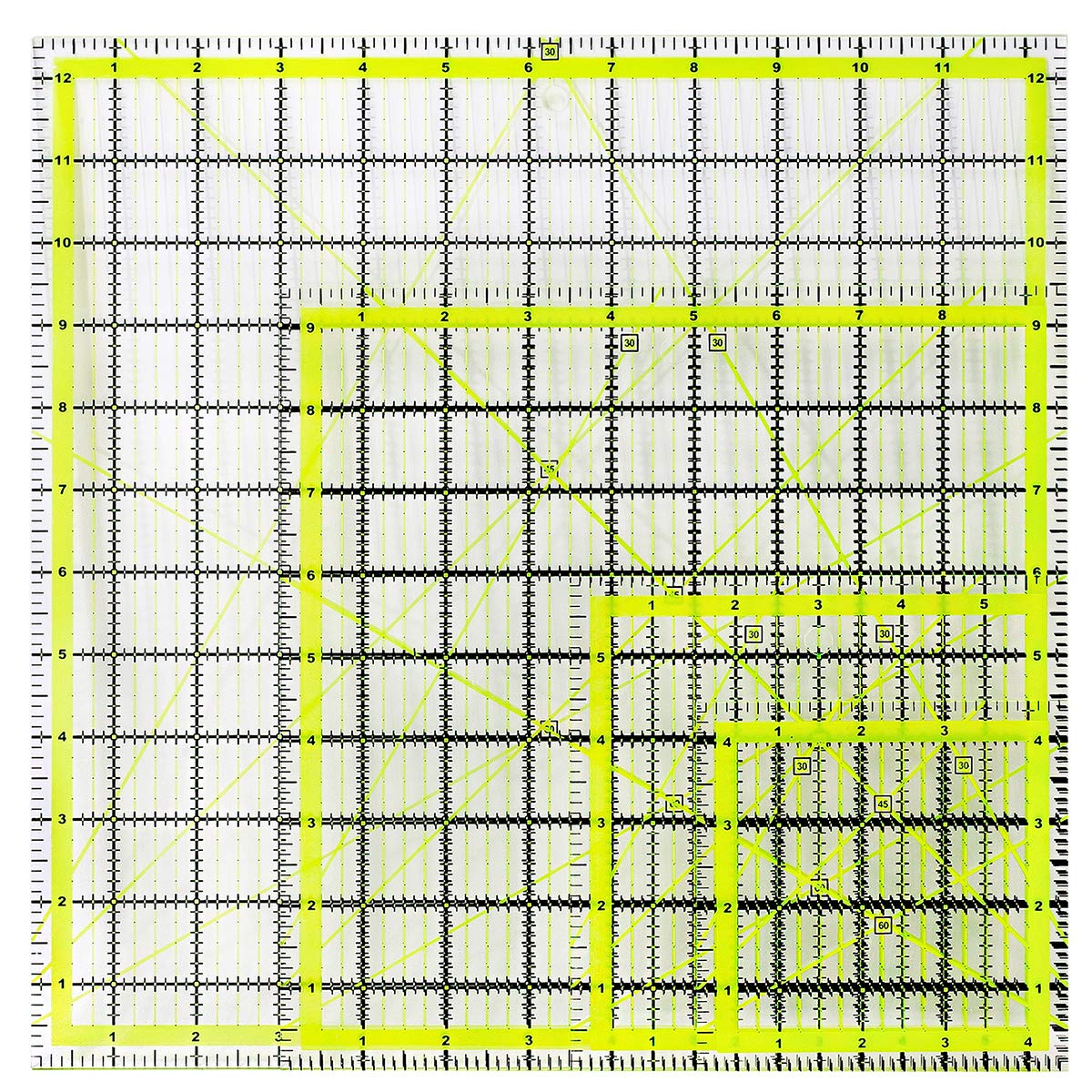 UOOU 4 Pack Quilting Ruler, Square Quilting Rulers Fabric Cutting Ruler Acrylic Quilters Rulers Clear Mark with Non Slip Rings for Quilting and Sewing(4.5''X4.5'', 6''X6'', 9.5''X9.5'', 12.5''X12.5'') by UOOU
