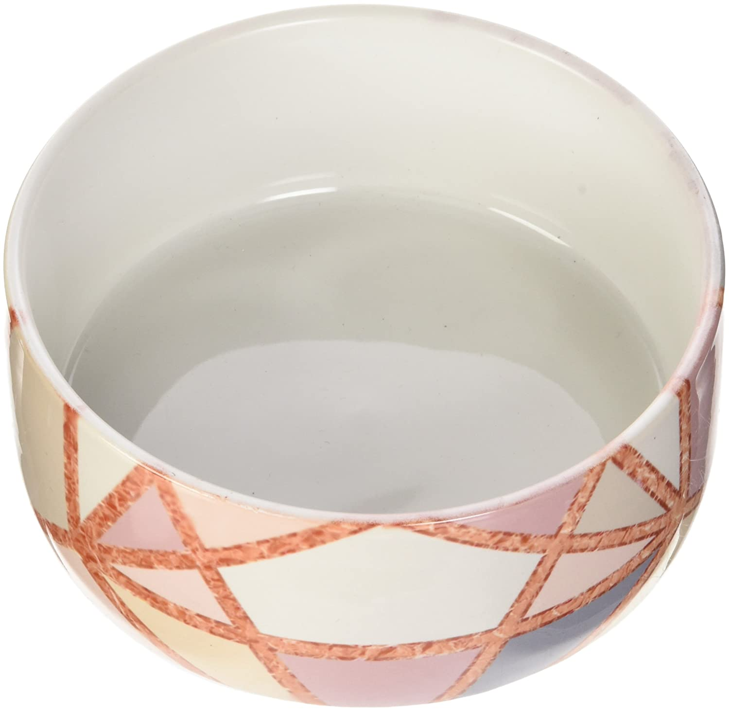 KESS InHouse Draper pink gold Geometry gold Pastel Digital Pet Bowl, 4.75  Diameter
