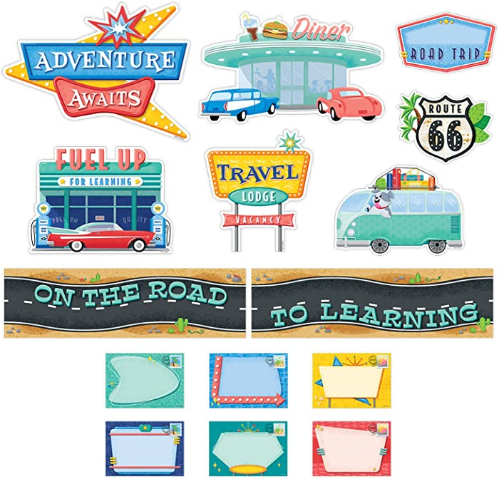 Creative Teaching Press Mid-Century Mod On The Road to Learning Mini Bulletin Board Set (8444)