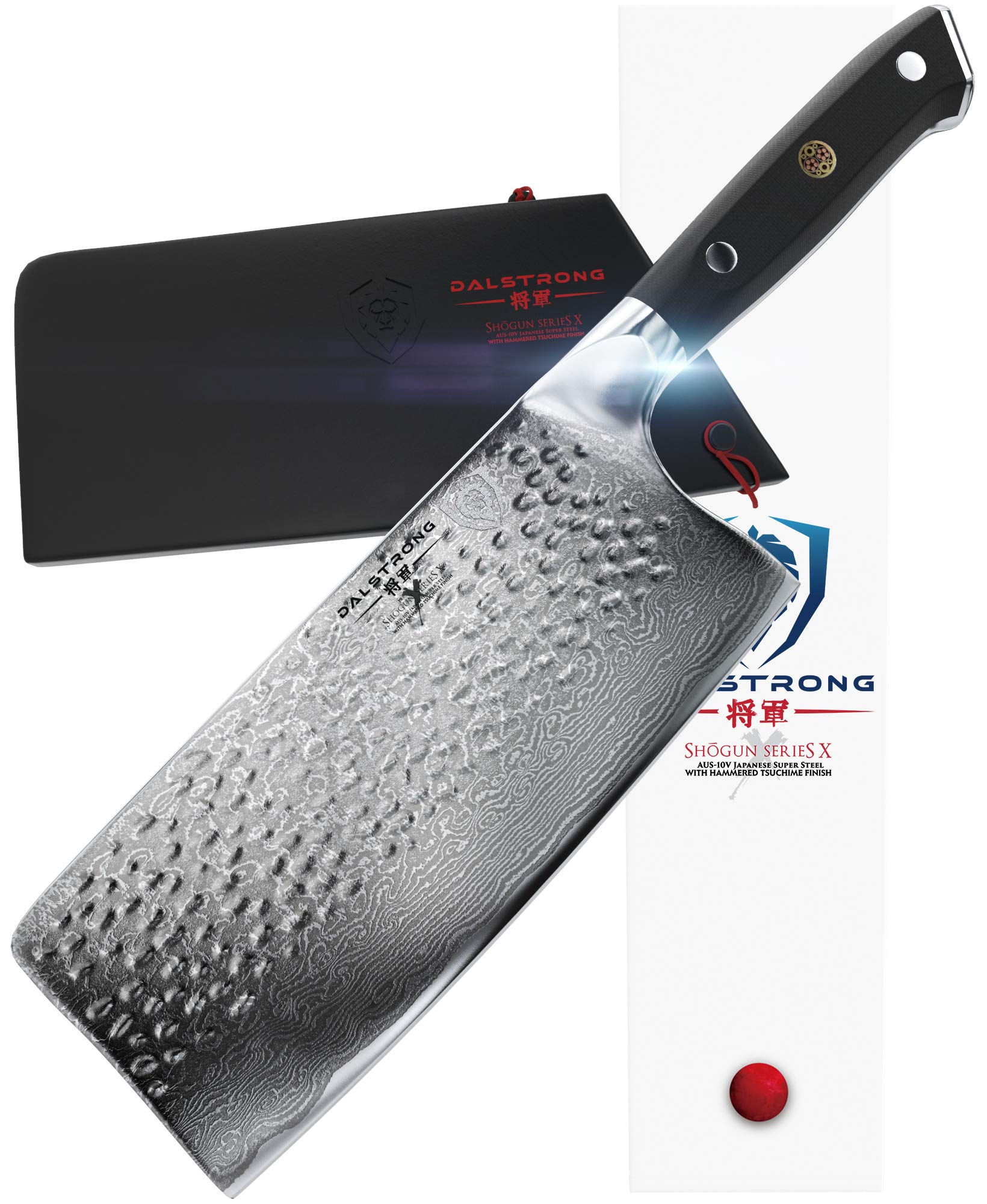 DALSTRONG Cleaver - Shogun Series X - Damascus - Japanese AUS-10V Super Steel - Vacuum Treated - 7'' Hammered - Sheath by Dalstrong