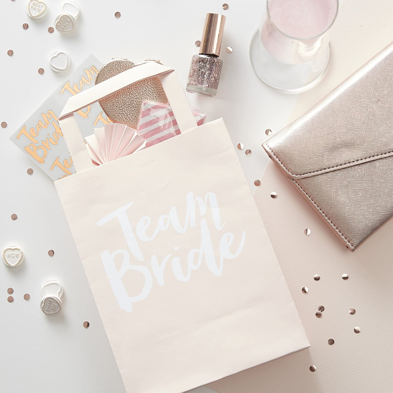 Ginger Ray Pink Team Bride Hen Party Bags - Pack of 5 - Team Bride ...