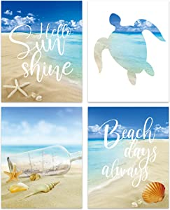 bestdeal depot Wall Art Posters Beach Artwork Canvas Poster Home Decoration for Bathroom, Bedroom, Office Unframed Set of 4, 8x10 inches