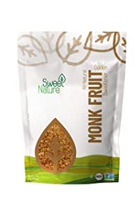 Sweet Nature Monk Fruit Sweetener, Golden - Non GMO - Gluten Free - Sugar Substitute - Kosher - Keto Friendly (3 lbs)