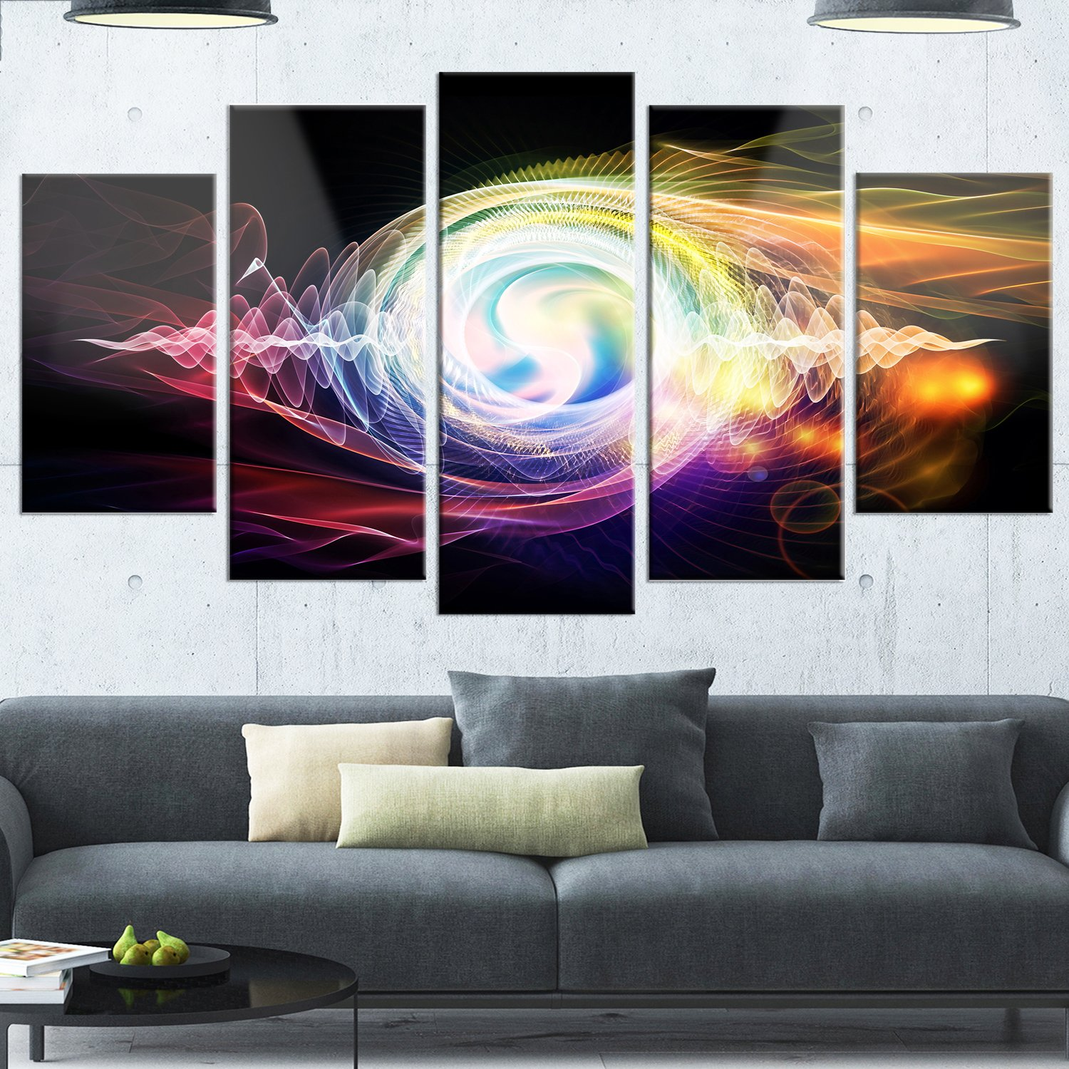 Large Abstract Glossy Metal Wall Art,Black,60x32 Designart MT14164-373 Bright Wave Particle in Air on Black