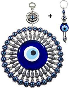 Ekayist Turkish Large Blue Evil Eye Wall Hanging Ornament with Floral Design - Home Decor Protection - Nazar Amulet and Blessing Charm - Metal Wall Art and Good Luck with Keychain Gift