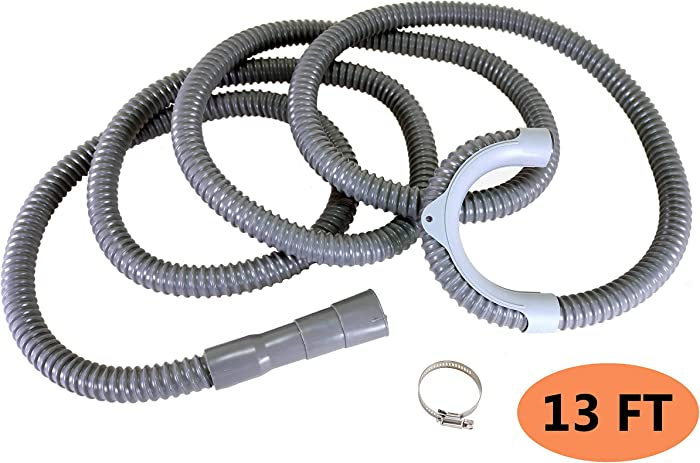 13FT Washing Machine Drain Hose Extension, Full 12ft Long when Using the Hanger Bracket, Washing Machine Discharge Hose, Laundry Discharge Hose, Clothes Washer Drain Hose, Cratehill