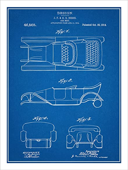 Amazon 1914 dodge brothers car body design patent print art 1914 dodge brothers car body design patent print art poster unframed blueprint 18quot malvernweather Image collections