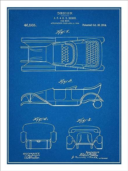 Amazon 1914 dodge brothers car body design patent print art 1914 dodge brothers car body design patent print art poster unframed blueprint 18quot malvernweather Gallery
