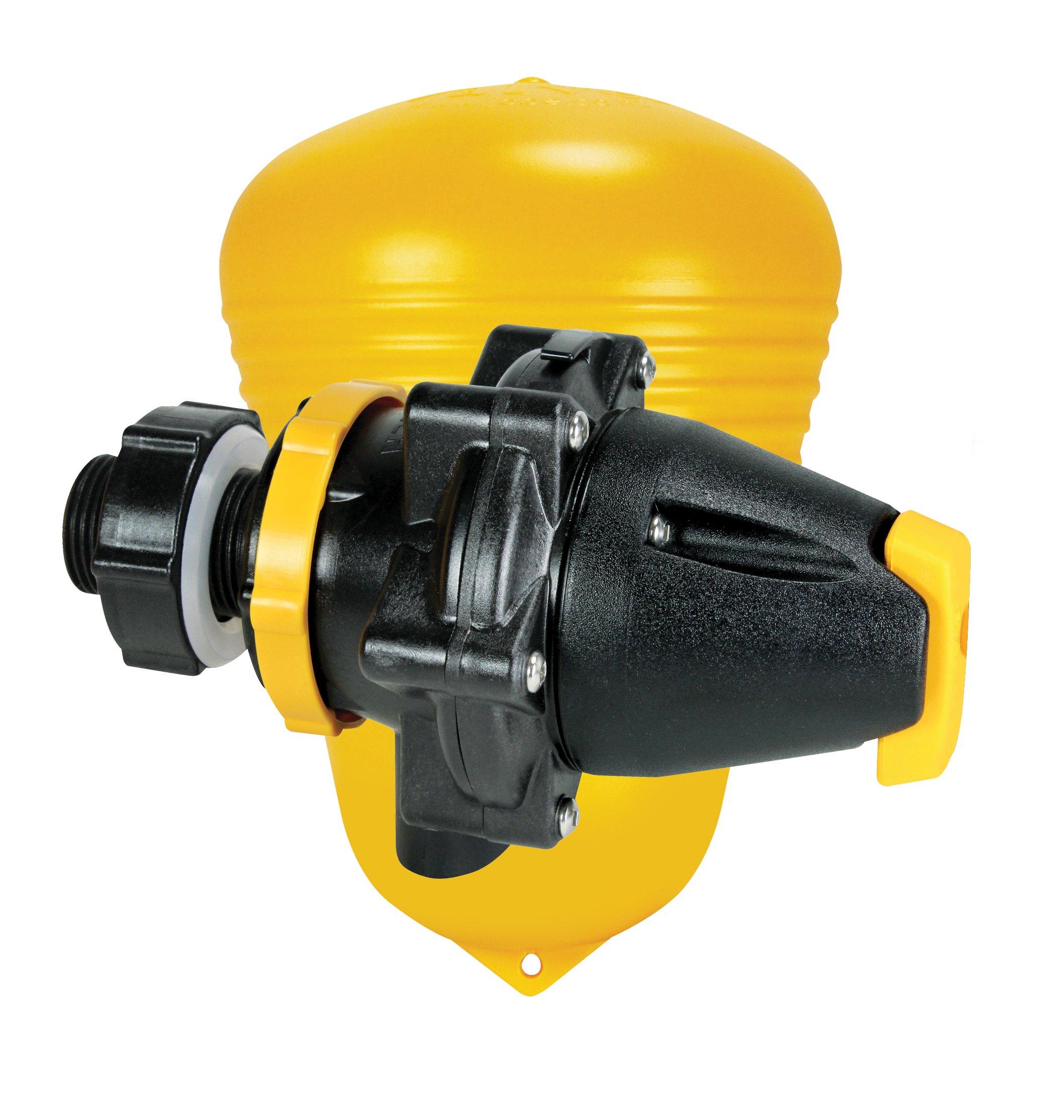 Jobe Valves Megaflow Valve with Short Tail, 1.25'', Yellow/Black