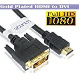 Storite® Gold Plated HDMI to DVI D Dual Link Cable 24+1(1.5m - 150cm - 4.5 Foot) with Highspeed (1080p Full HD 3D) Cable