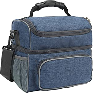 FlowFly Double Layer Cooler Insulated Lunch Bag Adult Lunch Box Large Tote Bag for Men, Women, With Adjustable Strap,Front Pocket and Dual Large Mesh Side Pockets,Navy