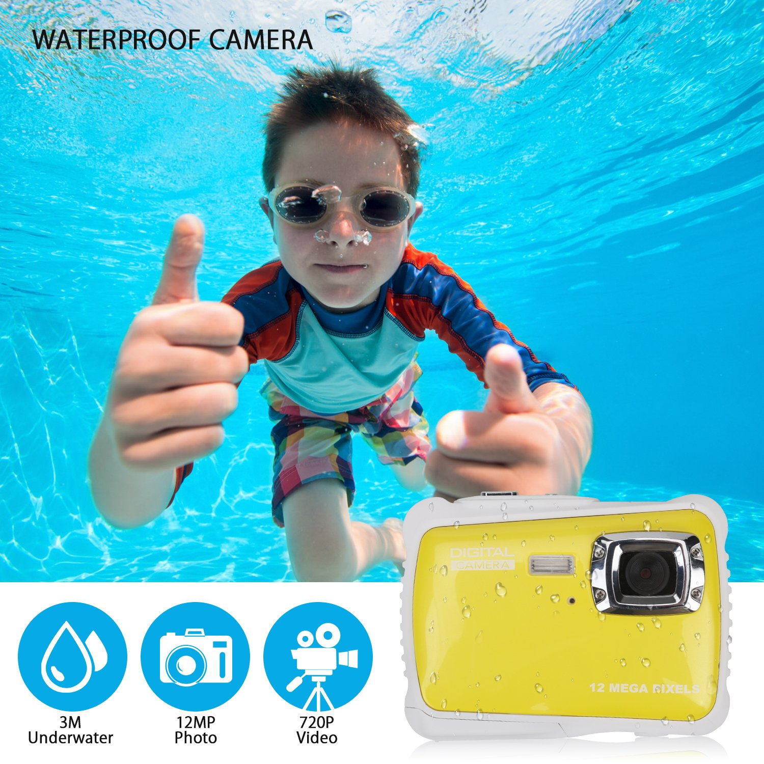 BOMEON Waterproof Camera for Kids Underwater Action Camera Camcorder with 12MP HD 8X Digital Zoom Flash Mic 2.0 Inch LCD Display with 8G SD Card 3 Non-Rechargeable Batteries Included by BOMEON (Image #3)