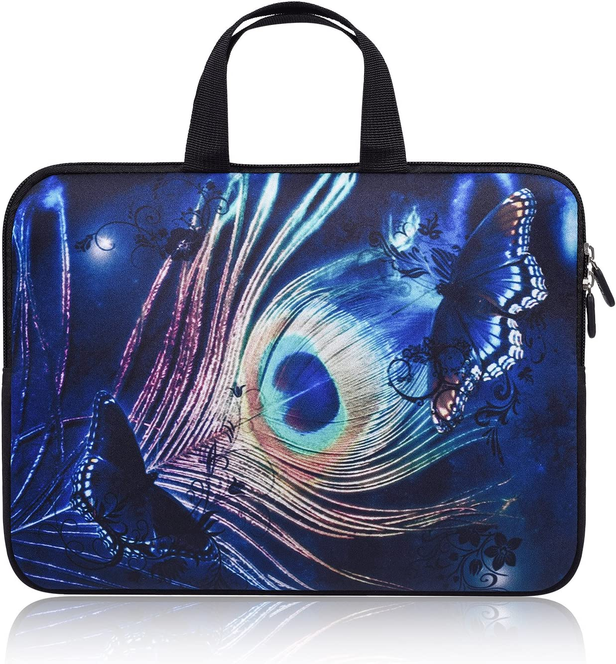 """11-12.2 Inch Chromebook Carrying Laptop Bag Sleeve Case with Handle Compatible with Acer Chromebook R 11/Samsung Google 11.6"""" Chromebook/HP Chromebook 11/ASUS Chromebook C200MA(Blue Peacock Feather)"""