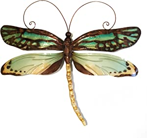 Eangee Home Design Dragonfly Wall Decor Aqua And Gold 14 Inches Length x 1 Inch Width x 12 Inches Height (m4034)